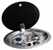 CAN 2 Burner Oval Hob Unit with Glass Lid