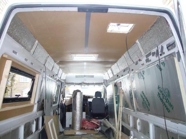 Insulated Walls Roof With 50mm 25mm Celotex Campervan