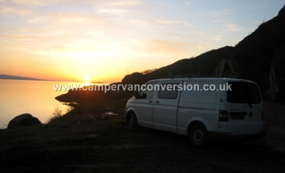 Campervan parked up for sunset